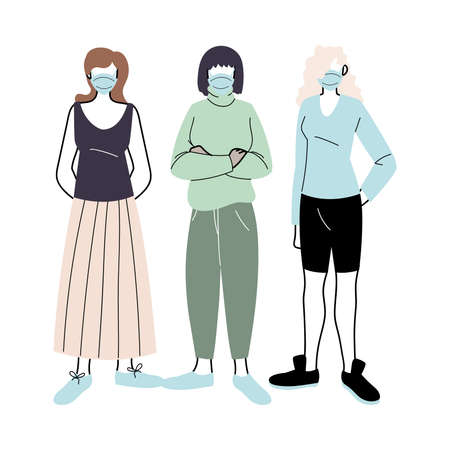 young women with medical masks standing on white background vector illustration design
