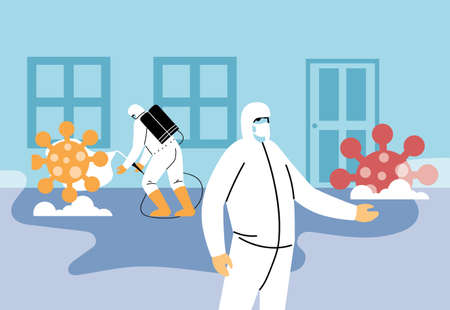 man in biosecurity suits removed covid 19 vector illustration desing