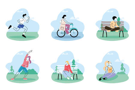people in medical protective masks, people spend time in park vector illustration design