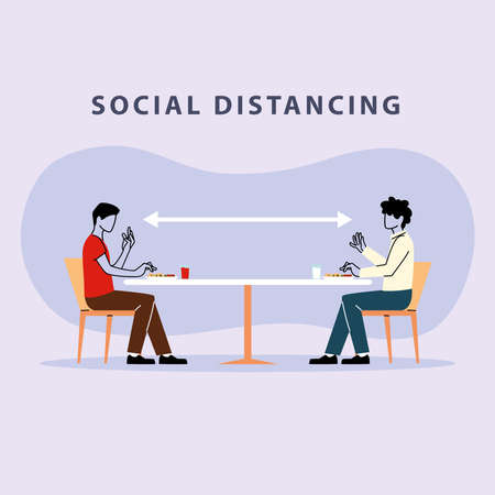 social distancing in restaurant, men eating on table, protection and prevention of coronavirus or covid-19 vector illustration design