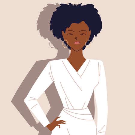 portrait of successful afro businesswoman vector illustration design