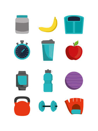 Icon set design, healthy lifestyle fitness gym bodybuilding bodycare fit activity exercise and workout theme Vector illustration