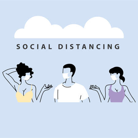 people talk with distance to prevent infection of coronavirus or covid 19 vector illustration design