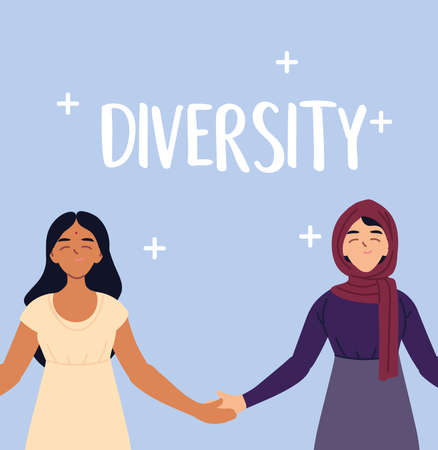 muslim and indian women cartoons design, diversity multicultural friends and multiethnic theme Vector illustration 矢量图像