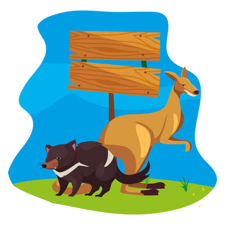 kangaroo and tasmanian devil over landscape vector illustration design