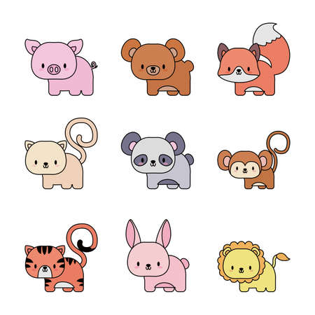 set of icons animals baby kawaii, line and fill style icon vector illustration design Vector Illustratie