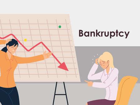 businesswomen in the office, financial crisis or economic problem vector illustration design Vektoros illusztráció