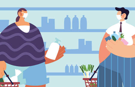 men with medical mask in the supermarket with precautions by coronavirus, social distancing vector illustration design