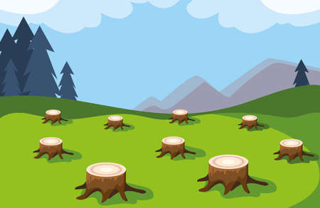 tree stumps showing deforestation, environmental disaster vector illustration design Stock Illustratie