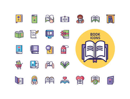 opened book and books icon set over white background, line and fill style, vector illustration