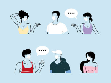 set of people talking with distance to prevent infection of coronavirus or covid 19 vector illustration design