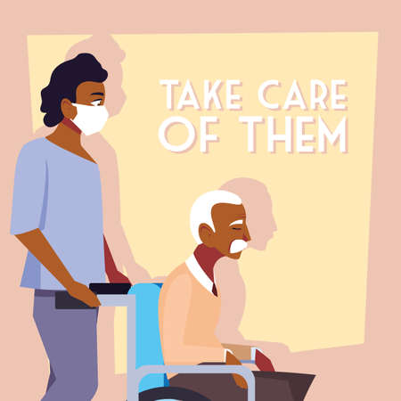young man take care of old man, label take care of them vector illustration design