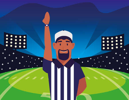 american football referee with his hand up on stadium vector illustration design