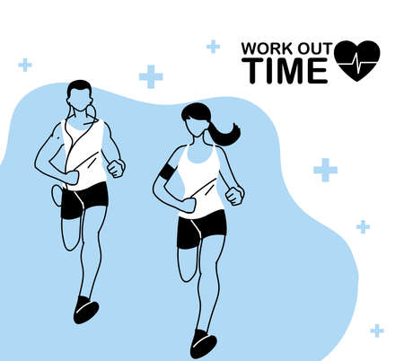 man and woman avatar running and work out time design, athlete training and fitness theme Vector illustration