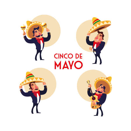 mexican mariachi with set icons of the cinco de mayo vector illustration design