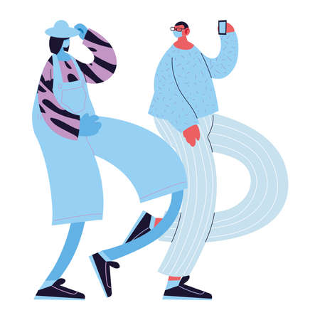 men with smart phones taking photos vector illustration desing