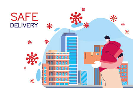 domiciliary man carrying safe packages in the city vector illustration desing