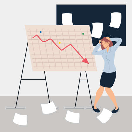 business woman at presentation of decreasing chart vector illustration design