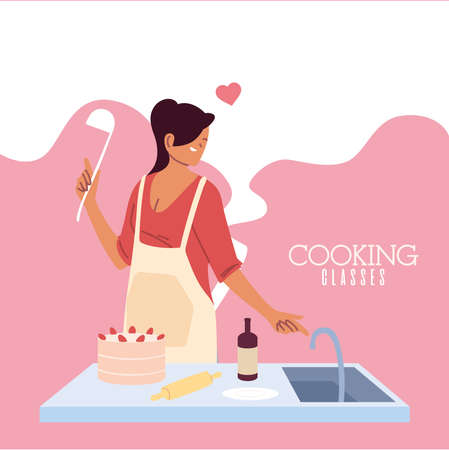 young woman in love cook preparing a cake vector illustration design Ilustração