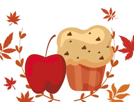 Cupcake and apple design, Muffin dessert sweet bakery sugar pastry and food theme Vector illustration Vektorgrafik
