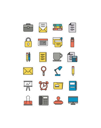 set of icons office , line style icon vector illustration design