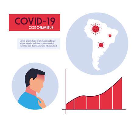 south america map with the propagation of the covid 19 vector illustration design