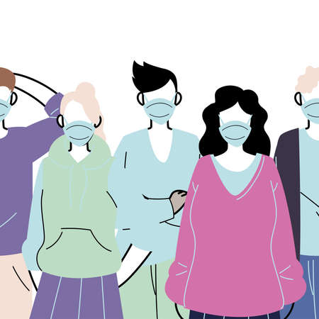 young people wearing face masks to prevent virus vector illustration design