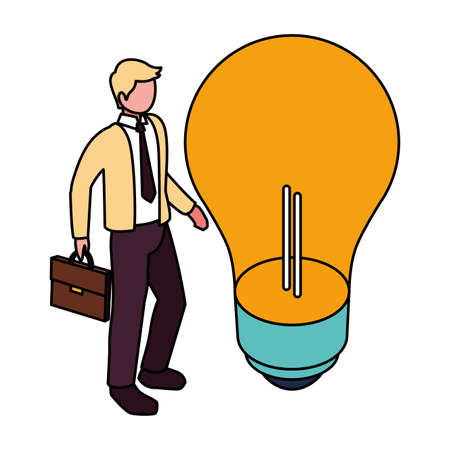 businessman with light bulb on white background vector illustration design