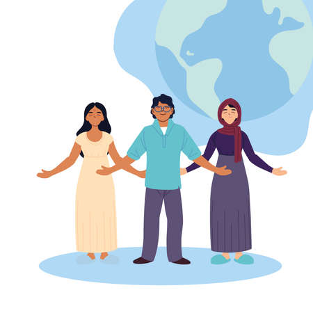 indian muslim women and man cartoons with world sphere design, diversity people multiethnic race and community theme Vector illustration