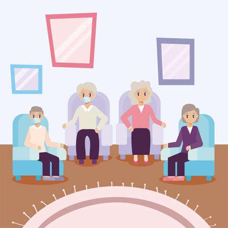 elderly care, elderly people meeting together vector illustration design