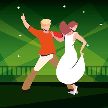 couple of people dancing in nightclub vector illustration design