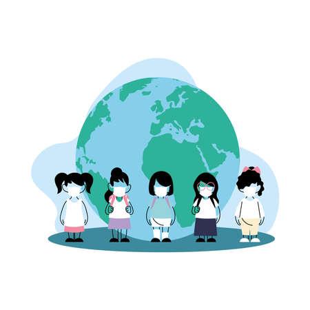 global protected children with masks vector illustration desing