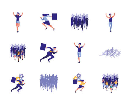 Businesspeople avatars set design, Teamwork business management corporate job occupation and worker theme Vector illustration