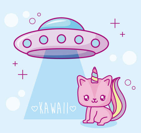 flying saucer and kawaii unicorn over blue background, colorful design, vector illustration