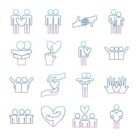 degraded line style icon set design of hug love passion and romantic theme Vector illustration