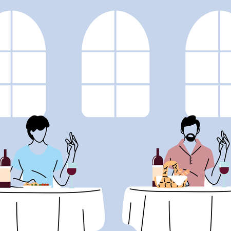 social distancing in restaurant, men eating on table, protection and prevention of coronavirus or covid-19 vector illustration design Vettoriali