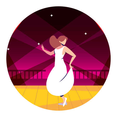 woman on the dance floor, party, dancing club, music and nightlife vector illustration design Vector Illustration