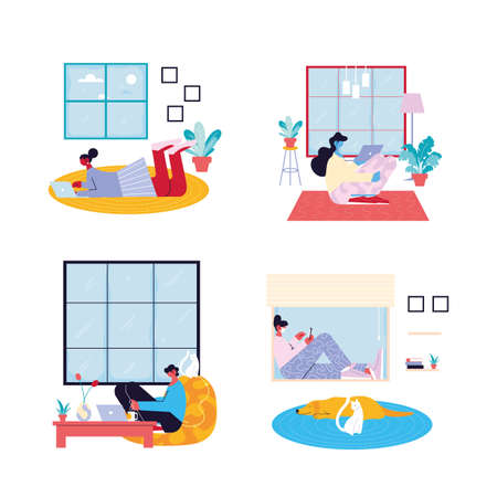 set of cards people working from her home vector illustration design 向量圖像