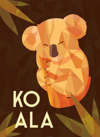 card of cute australian Koala on a tree vector illustration design