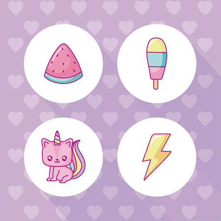 kawaii unicorn and icon set over purple background, colorful design, vector illustration