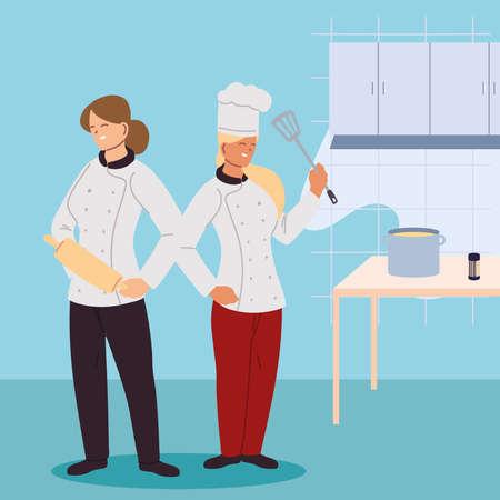 women chefs in kitchen of restaurant vector illustration design
