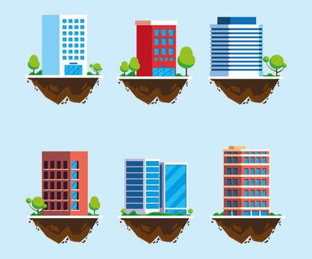 set of icons of buildings over terrain, urban landscape vector illustration design
