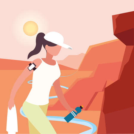 Hiker woman with smartphone and landscape design, Walker excursionist rambler tripper tourist travel trip tourism and journey theme Vector illustration