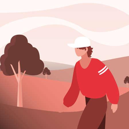 Hiker man and landscape design, Walker excursionist rambler tripper tourist travel trip tourism and journey theme Vector illustration Illustration