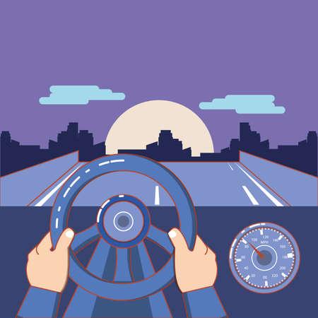 hand on steering wheel and road landscape over purple background, colorful design. vector illustration Illusztráció