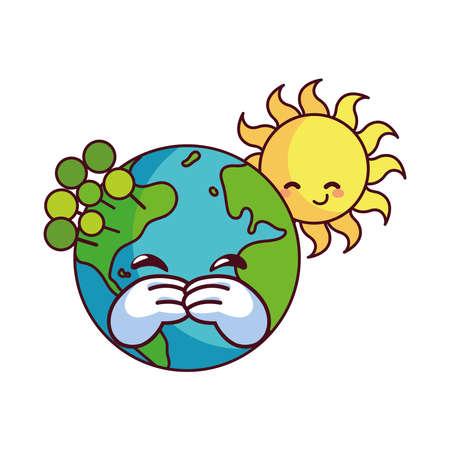 sun and earth happy accompanied vector illustration desings