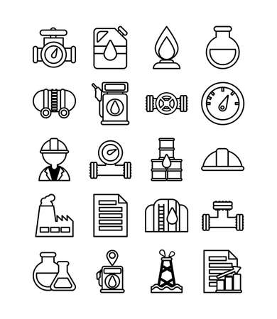 set of icons oil , line style icon vector illustration design
