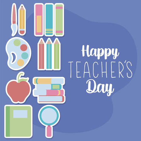 cute greeting card happy teacher day vector illustration design