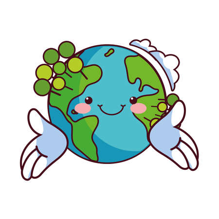 earth globe happy for preservation nature vector illustration desing Stock fotó - 155359946