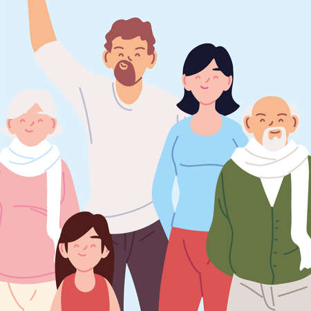 portrait of family, parents, grandparents and daughter vector illustration design